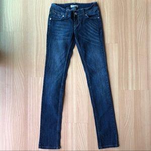 Paris blues stretch dark mid-rise skinny jeans